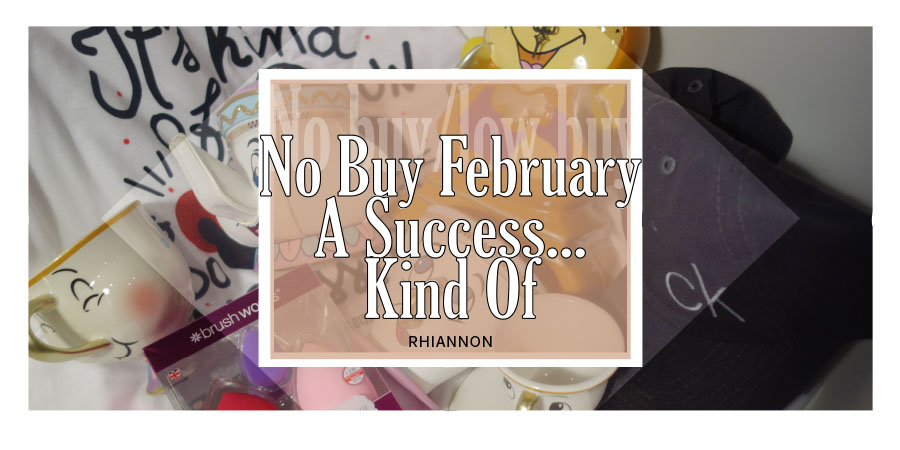 The No Buy February title image. Behind the text is a photo of everything that was bought in the month