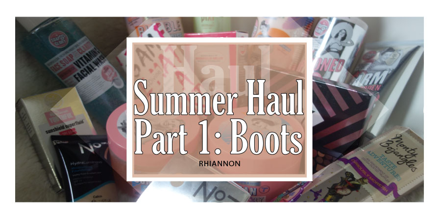 The Summer Haul Part 1: Boots title image. Behind the text box is a photo of everything bought in the haul