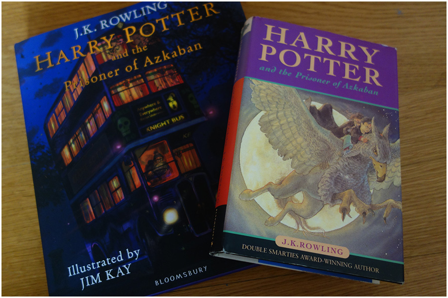 The illustrated version next to the original hardback copy published in the UK