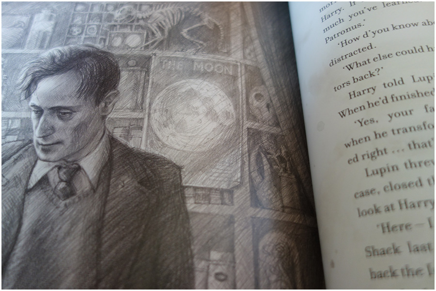 A photo of a sketch style illustration of Remus Lupin in his office