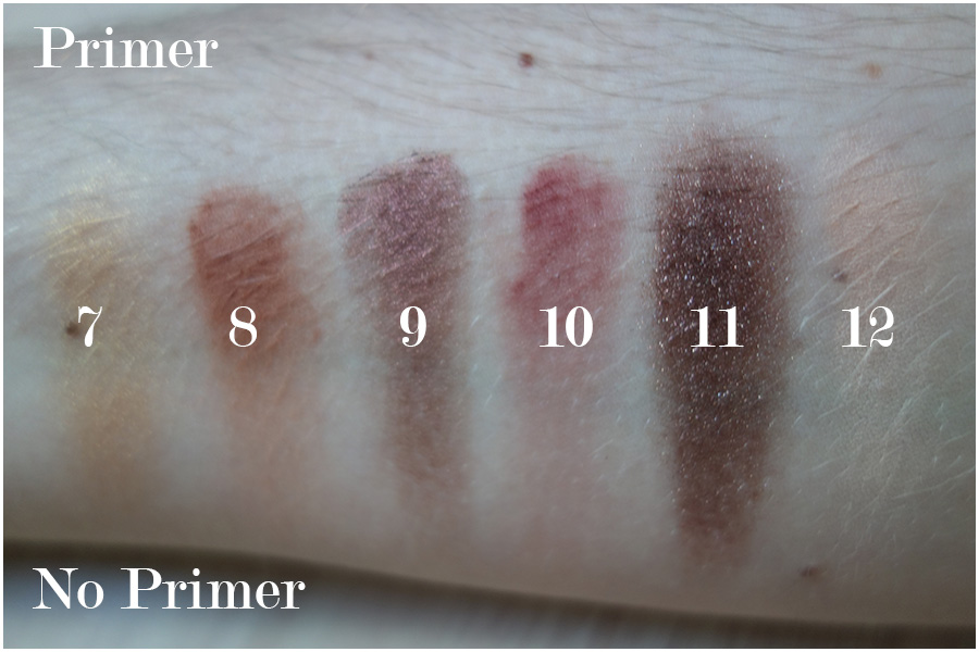 Swatches of the second row of eyeshadows with and without primer