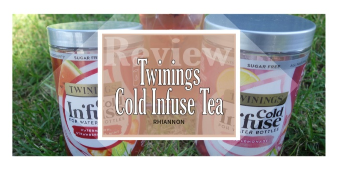 Twining's Cold Infuse Tea title image. Behind the text box is a photo of the plastic tubs containing the tea infusers with a bottle of the drink between them