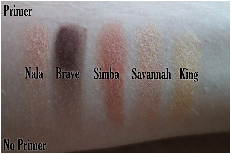 Swatches of the first five eyeshadows, Nala (shimmery copper), Brave (matte dark brown), Simba (deeper copper), Savannah (another shimmery copper like Nala) and King (gold)
