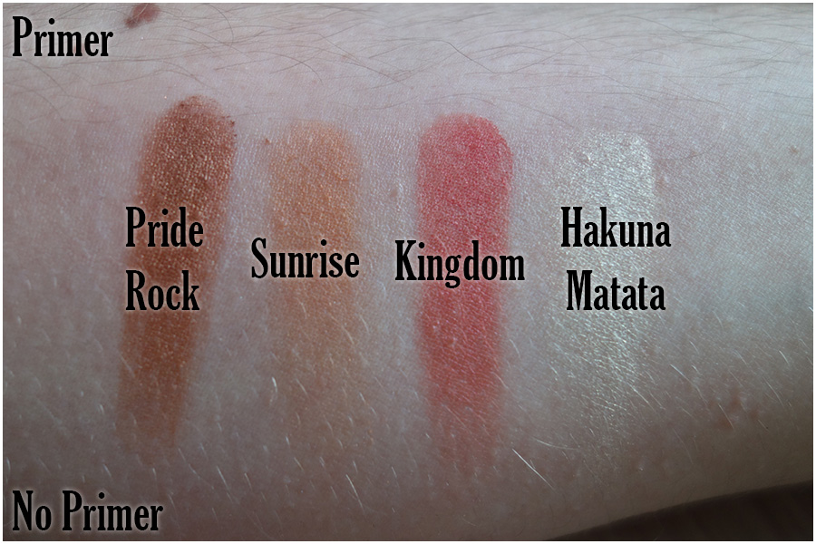 Swatches of the other four colours. There's Pride Rock (mid tone shimmery brown), Sunrise (satin orange), Kingdom (satin red) and Hakuna Matata (off white yellow with a slightly yellower duochrome)