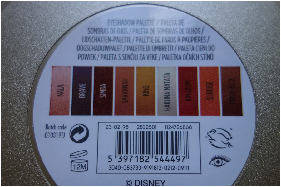 A photo of the label on the back of the palette. It shows the leaping bunny logo for cruelty free, an eye to show it's an eyeshadow and the names of each of the shades on a box that represents that colour