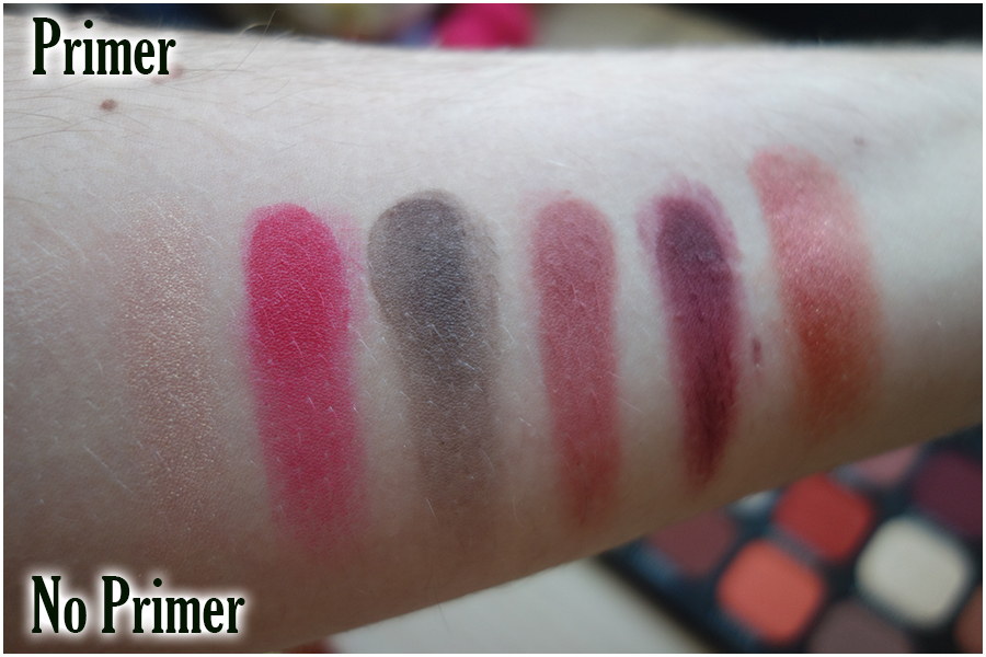 Swatches of the top row of the palette. There's attic (a peach duochrome shimmer), Motel (pinky red matte), Decrepit (browny grey), Peril (orange brown), Survival (warm deep brown) and Demonic (red copper shimmer)