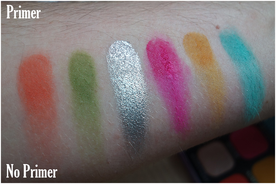 Swatches of the second row of eyeshadows. Wavelength is a red orange, Atmosphere an olive green, Liberty is a silver foil effect, Imagine a bright pink, Sunflower a mustard yellow and Pegasus a blue green