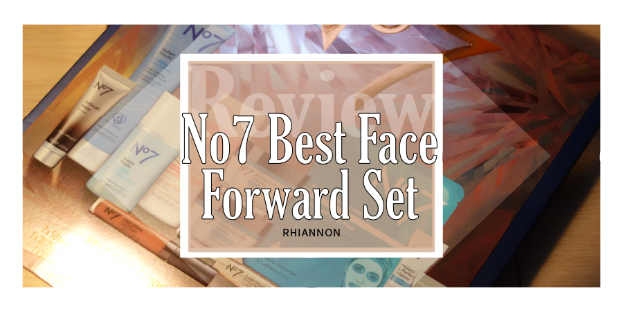 Best Face Forward gift set title image. Behind the text box is a photo of the box of the gift set with their photo of the products inside