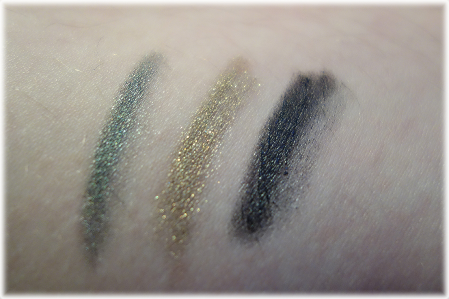 Swatches of the three eyeshadows pencils