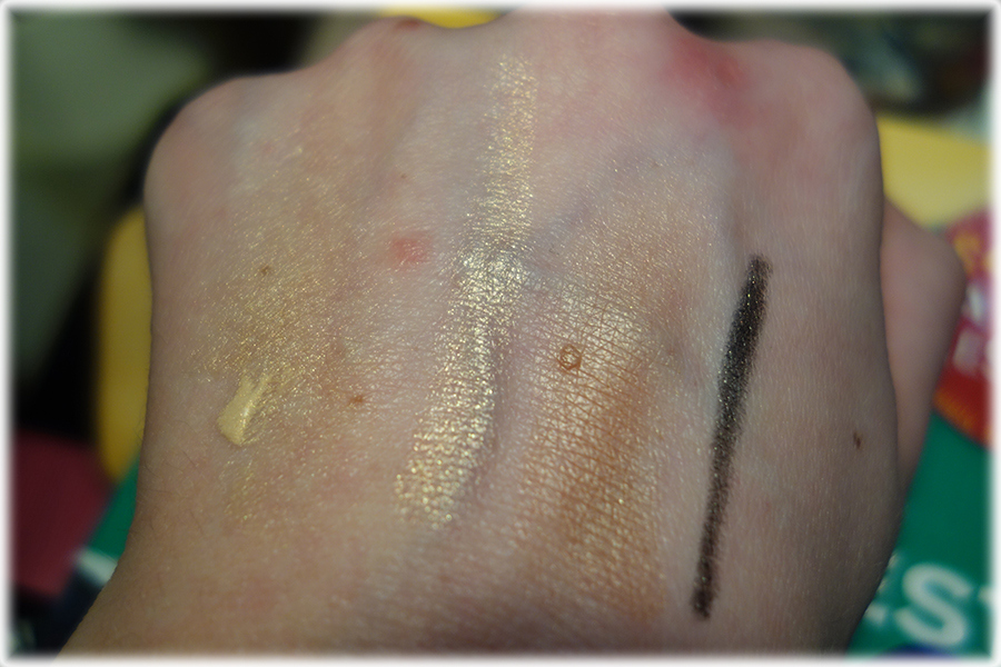 swatches of the different products on the back of my hand