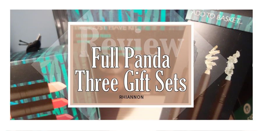 Full Panda Sets title image. Behind the text box is a photo of the three sets in their boxes
