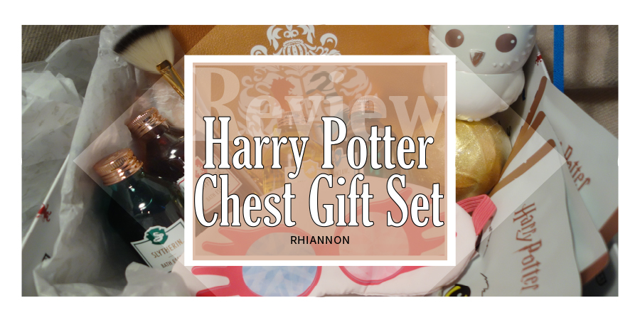 Harry Potter trunk title image. behind the text box is a photo of all of the products that come in the set