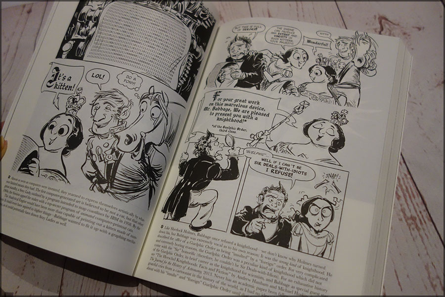 Inside pages of the Thrilling Adventures of Lovelace and Babbage. It shows the mix of illustration, text and footnotes that are used throughout the book