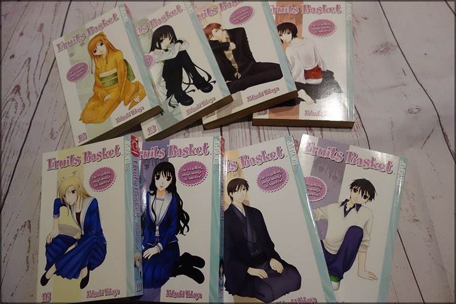 Numbers 12 to 19 of the Fruits Basket manga books laid out on the floor